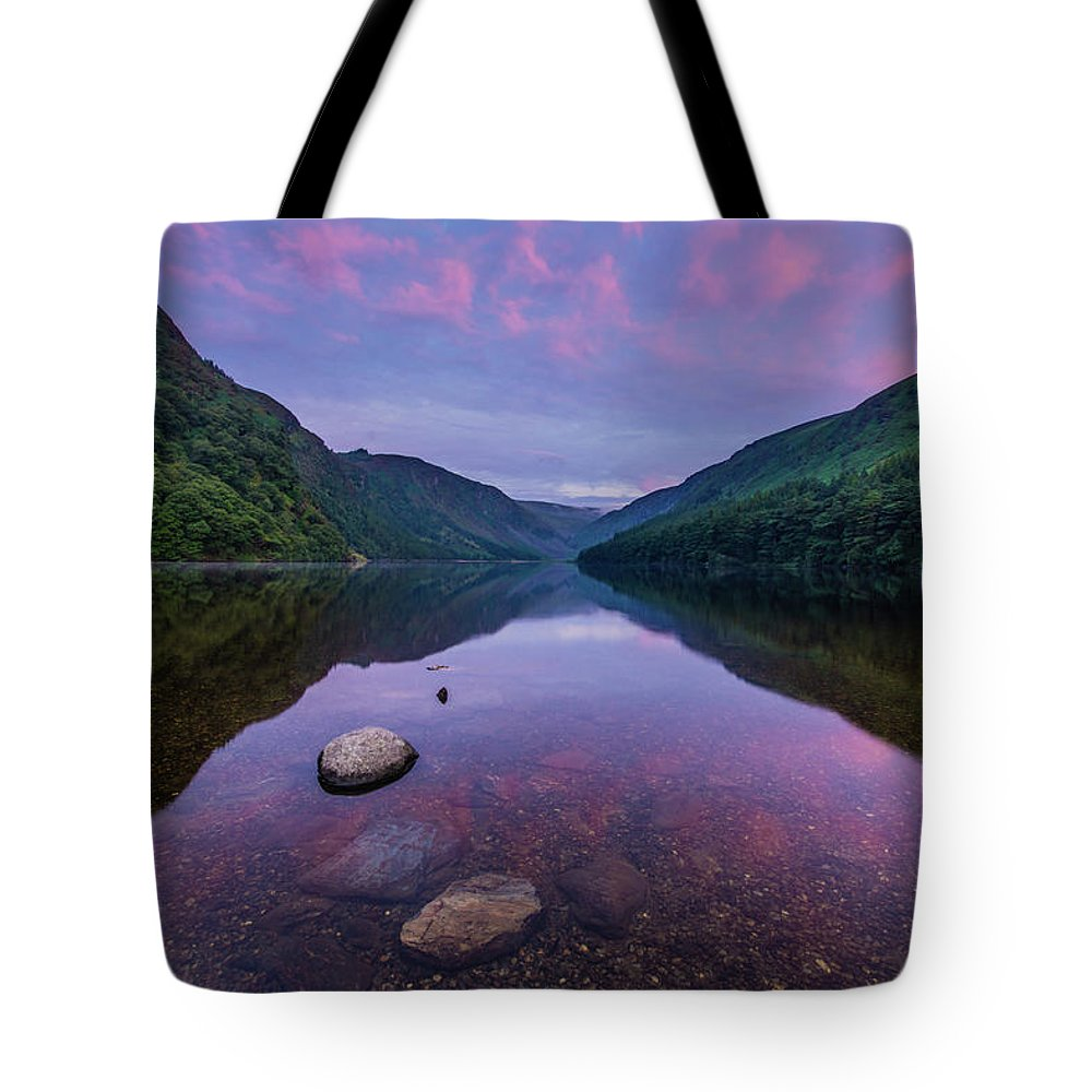 Sunrise Tote Bag featuring the photograph Sunrise at Glendalough Upper Lake #1, County Wicklow, Ireland by Anthony Lawlor