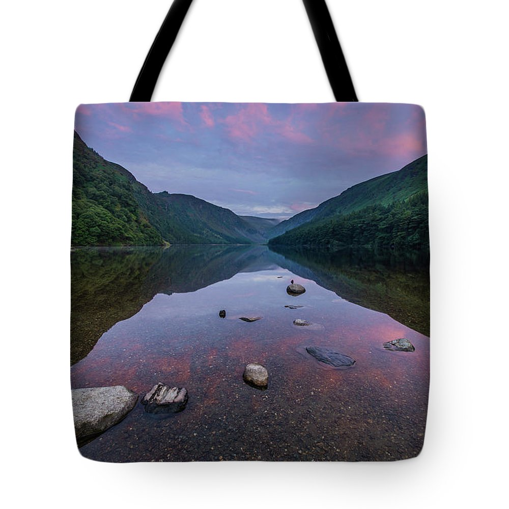 Sunrise Tote Bag featuring the photograph Sunrise at Glendalough Upper Lake #3, County Wicklow, Ireland. by Anthony Lawlor