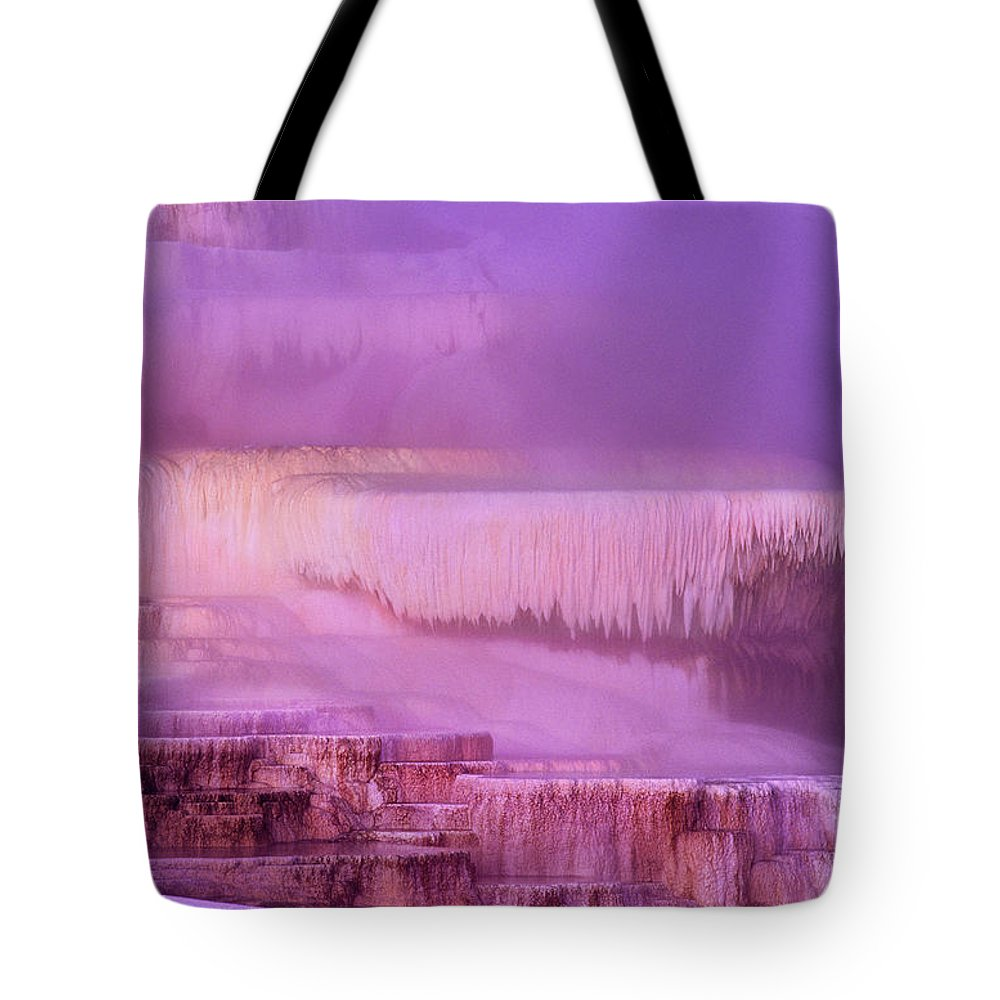 North America Tote Bag featuring the photograph Sunrise At Minerva Springs Yellowstone National Park by Dave Welling