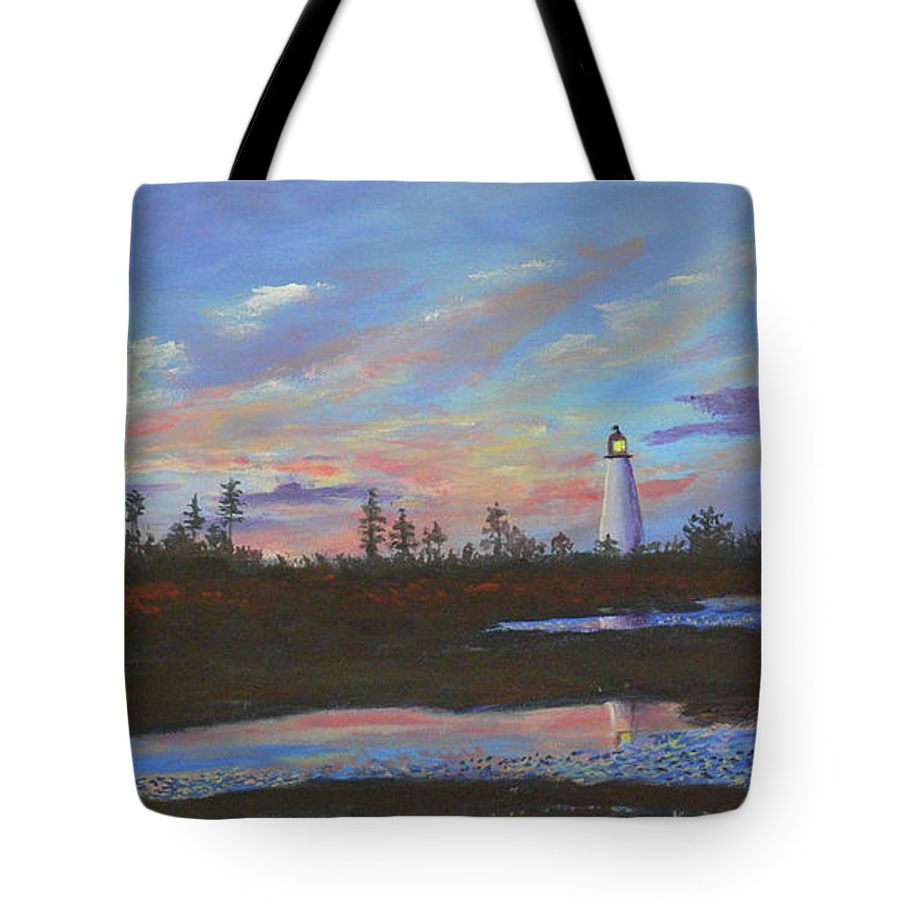 Pt Prim Tote Bag featuring the painting Sunrise At Point Prim by Lorraine Vatcher