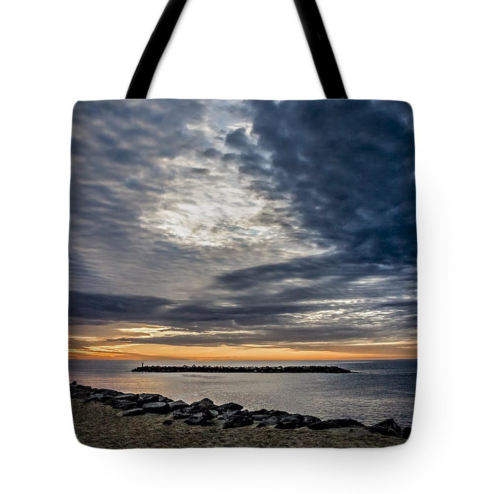 Sun Tote Bag featuring the photograph Sunrise At Rudee Inlet by Jeff Clarke