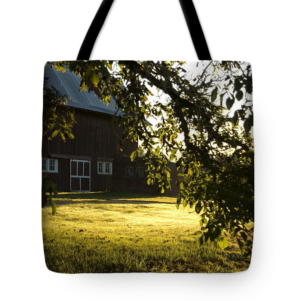 Barn Tote Bag featuring the photograph Sunrise At The Barn by Sara Stevenson
