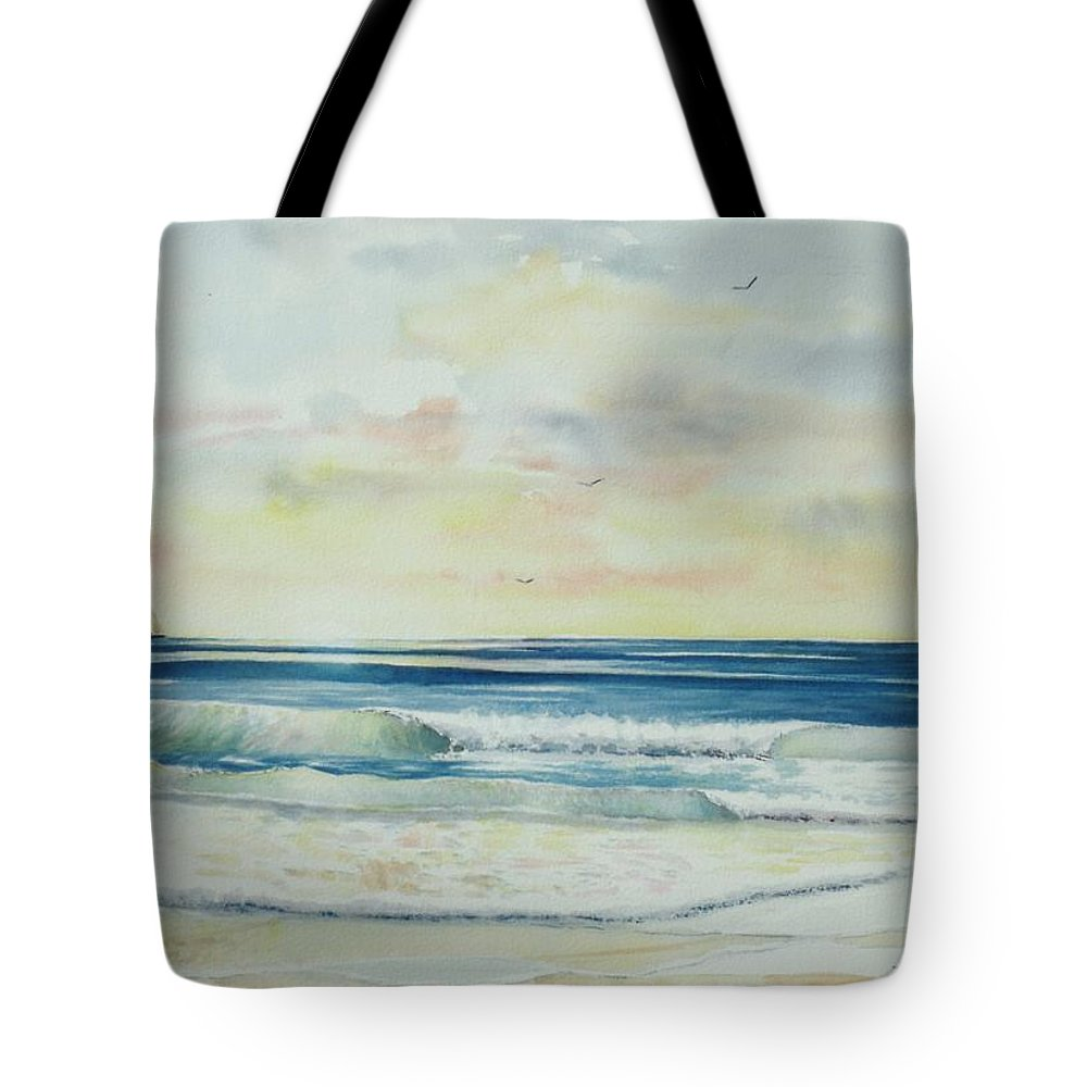 Seascape Tote Bag featuring the painting Sunrise At The Beach IIi by Tom Harris