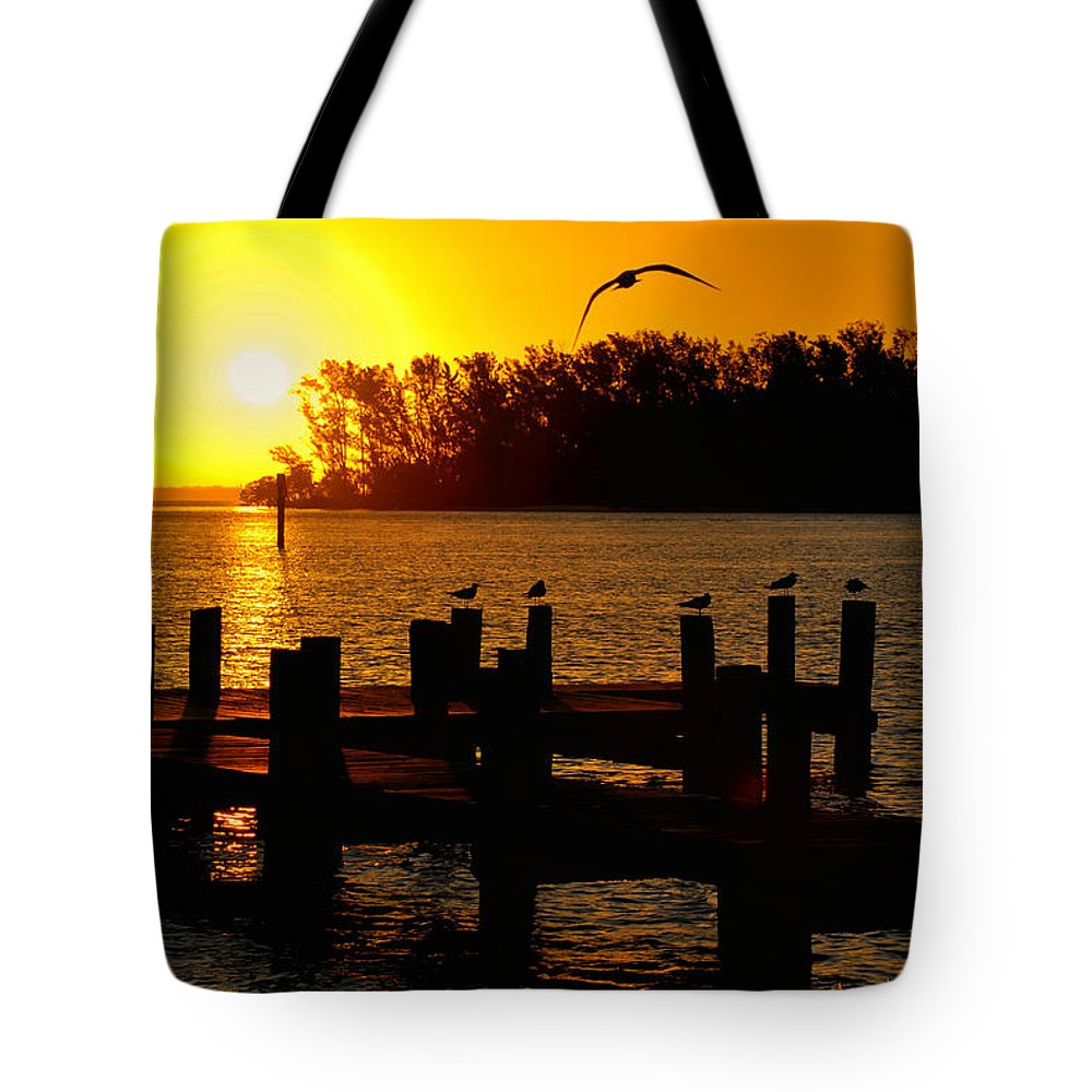 Boat Tote Bag featuring the photograph Sunrise At The Boat Launch by Allen Williamson