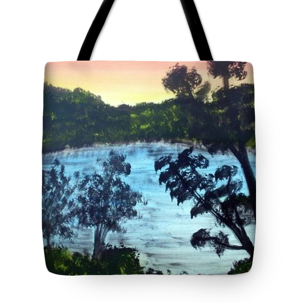 Landscape Tote Bag featuring the painting Sunrise At The Lake by Ervin Sloan