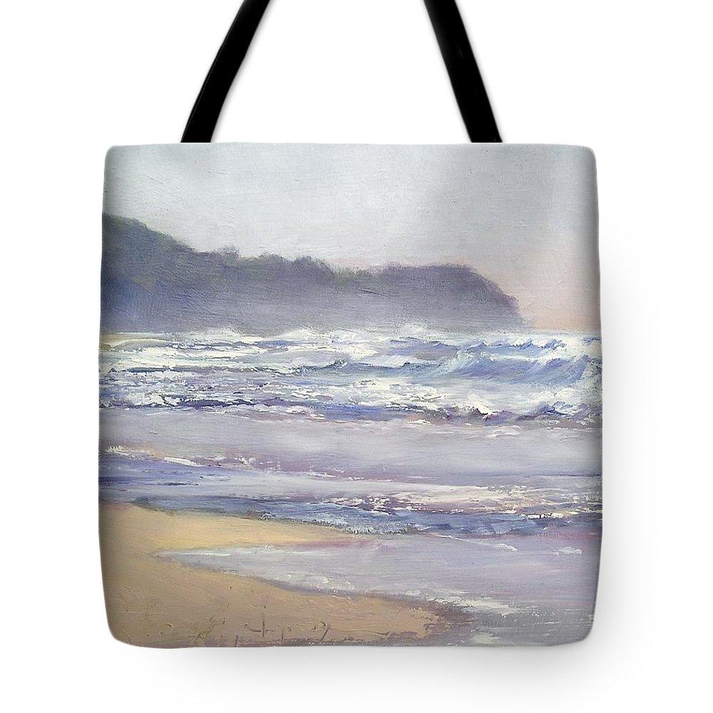 Sunrise Beach Tote Bag featuring the painting Sunrise Beach Sunshine Coast Queensland Australia by Chris Hobel