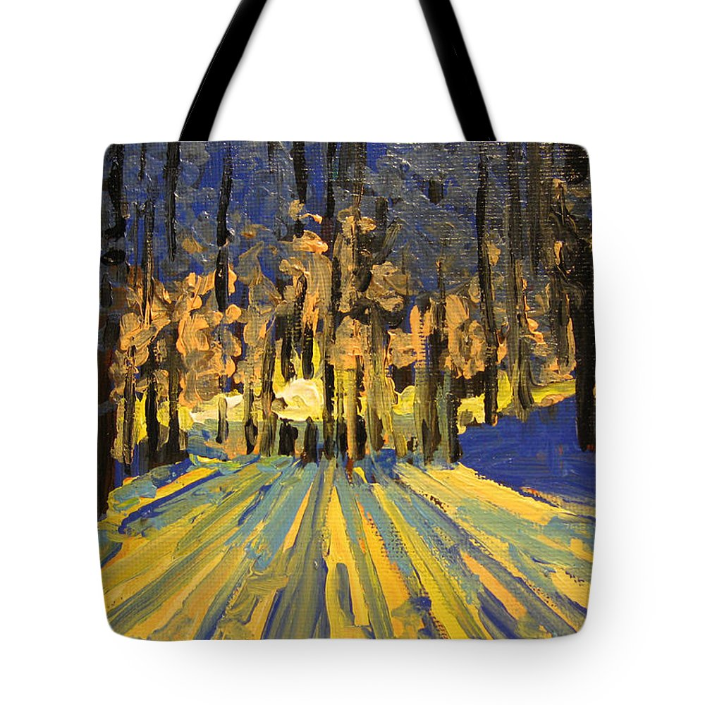 Landscape Tote Bag featuring the painting Sunrise Forest Modern Impressionist Landscape Painting by Patricia Awapara