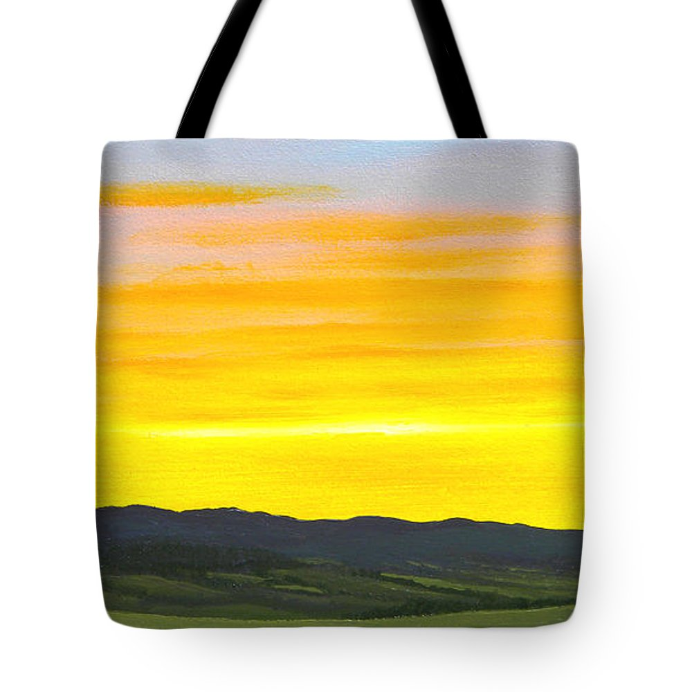Sunrise Tote Bag featuring the painting Sunrise by Frank Wilson