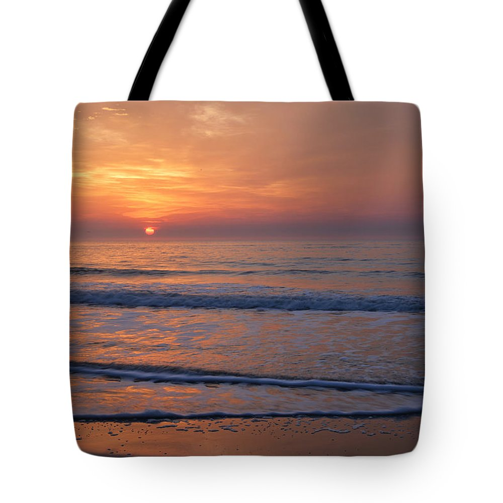 Beach Tote Bag featuring the photograph Sunrise Huntington Island State Park by Alan Lenk