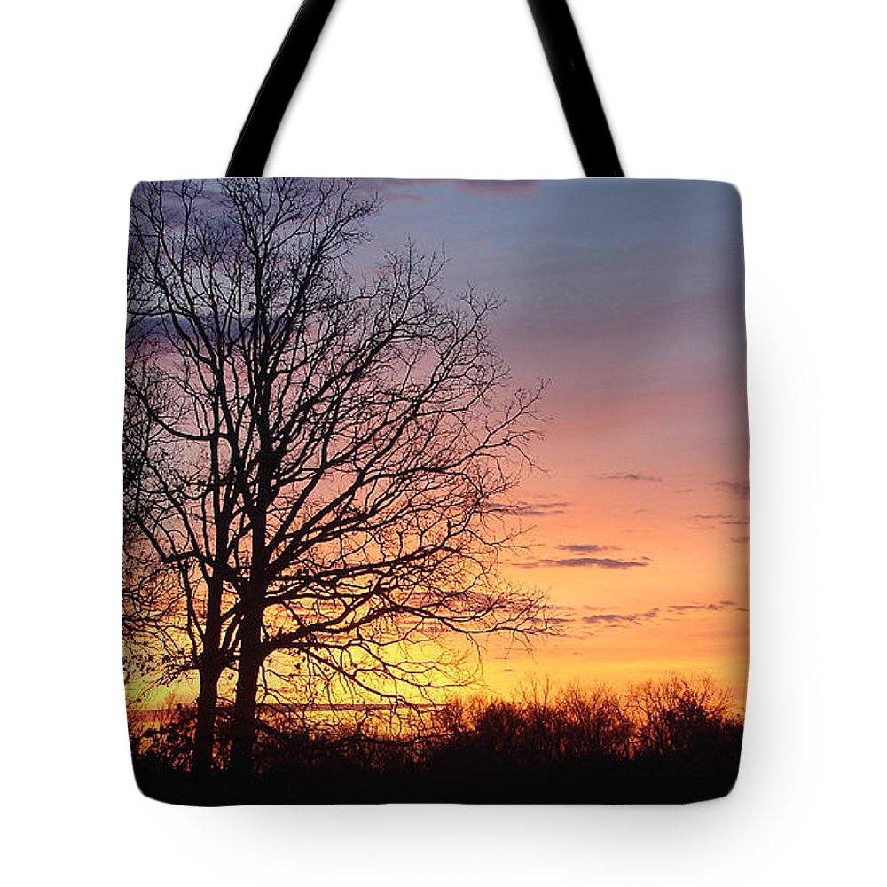 Tree Black Orange Tote Bag featuring the photograph Sunrise In Illinois by Luciana Seymour