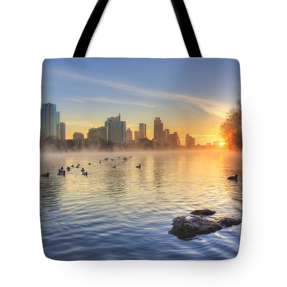 Austin Sunrise Tote Bag featuring the photograph Sunrise In January Over Austin Texas 5 by Rob Greebon