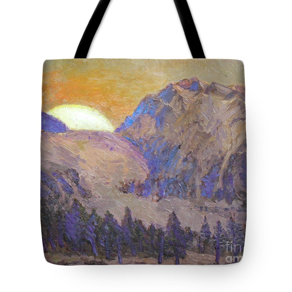 Sunrise Tote Bag featuring the painting Sunrise by Meihua Lu