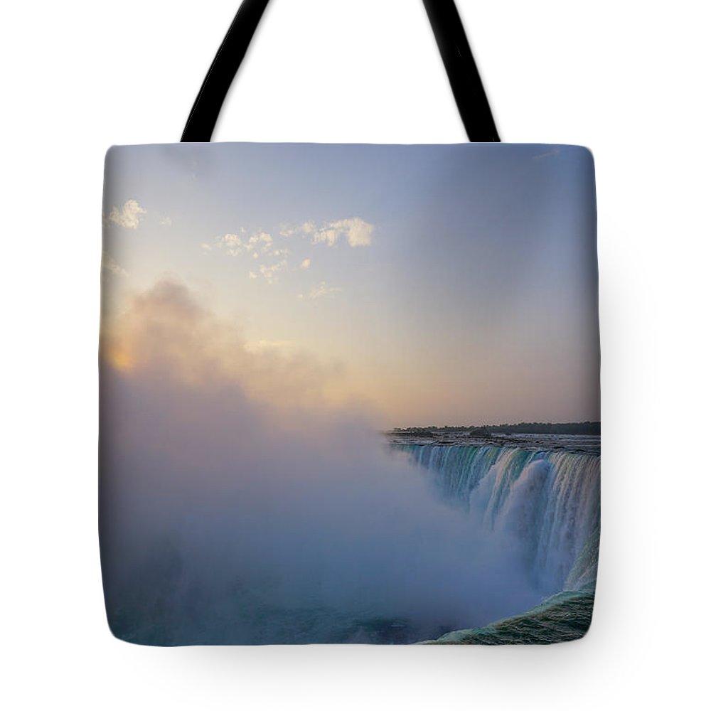 Waterfalls Tote Bag featuring the photograph Sunrise Niagara Falls by Steven R Breininger