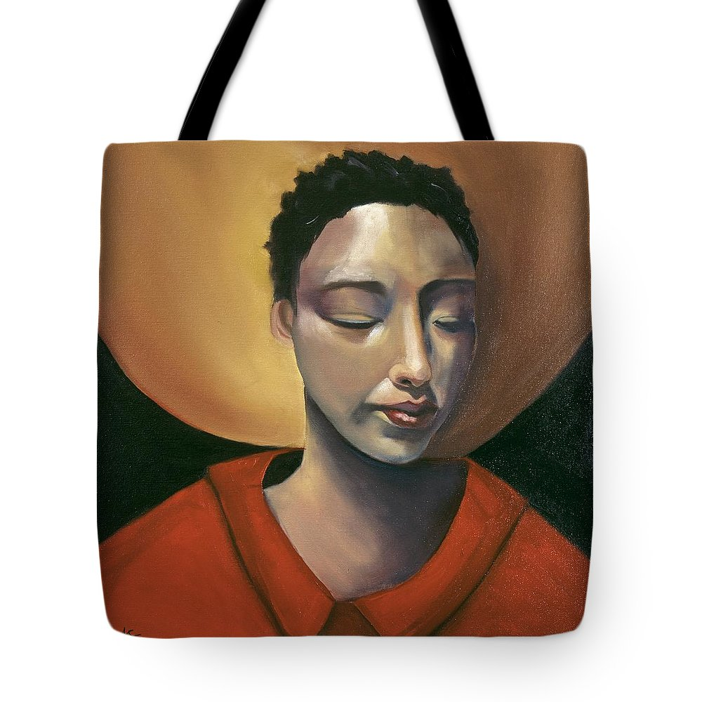 Asian Girl Woman Sun Red Ethnic Black Figurative Portrait Tote Bag featuring the painting Sunrise by Niki Sands