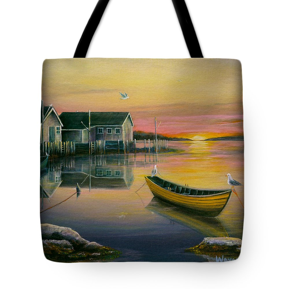 Fishing Village Tote Bag featuring the painting Sunrise On Blue Rocks 2 by Wayne Enslow