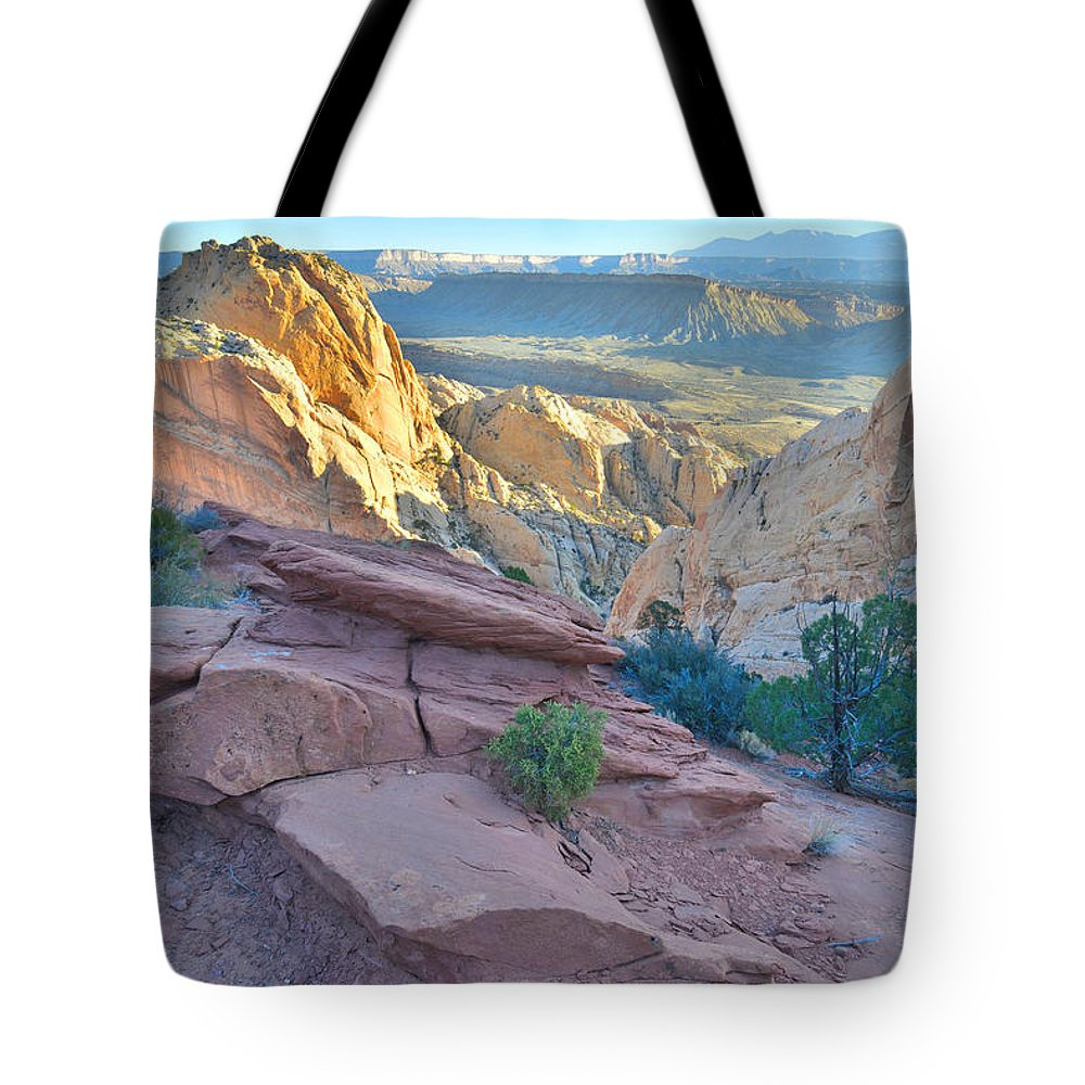 Capitol Reef National Park Tote Bag featuring the photograph Sunrise On Burr Trail Switchbacks by Ray Mathis