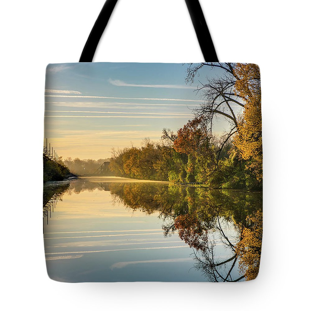 Sunrise Tote Bag featuring the photograph Sunrise On The Canal by Tim Wilson