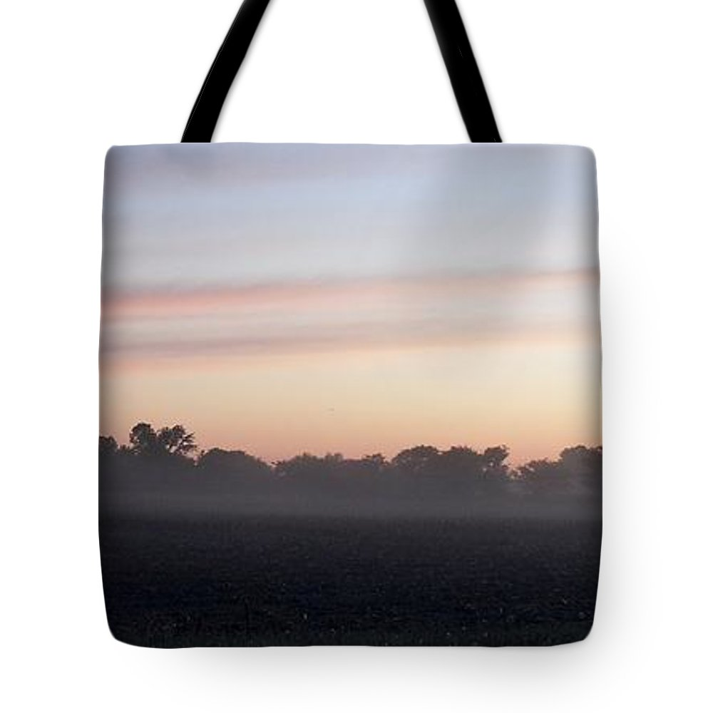 Sunrise Tote Bag featuring the photograph Sunrise On The Mists by Peggy King