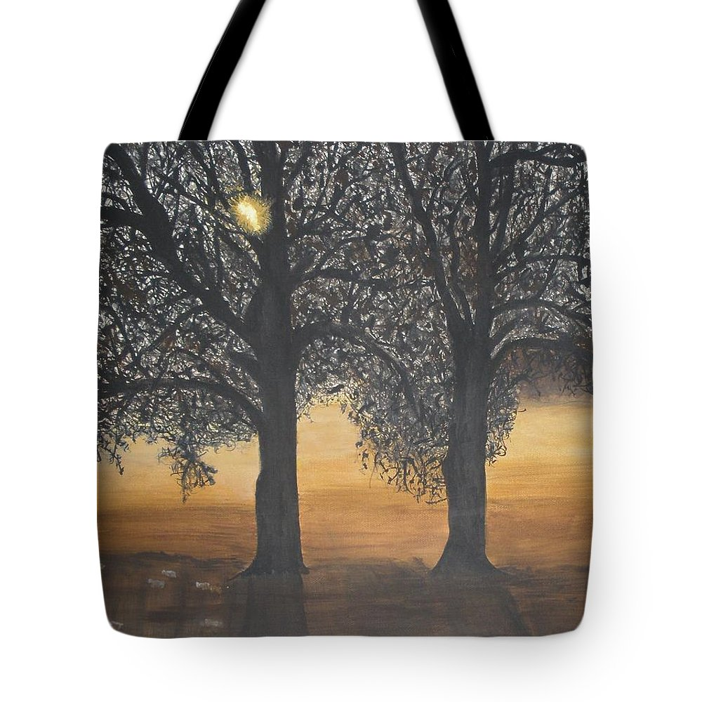 Trees Tote Bag featuring the painting Sunrise Or Sunset by Betty-Anne McDonald