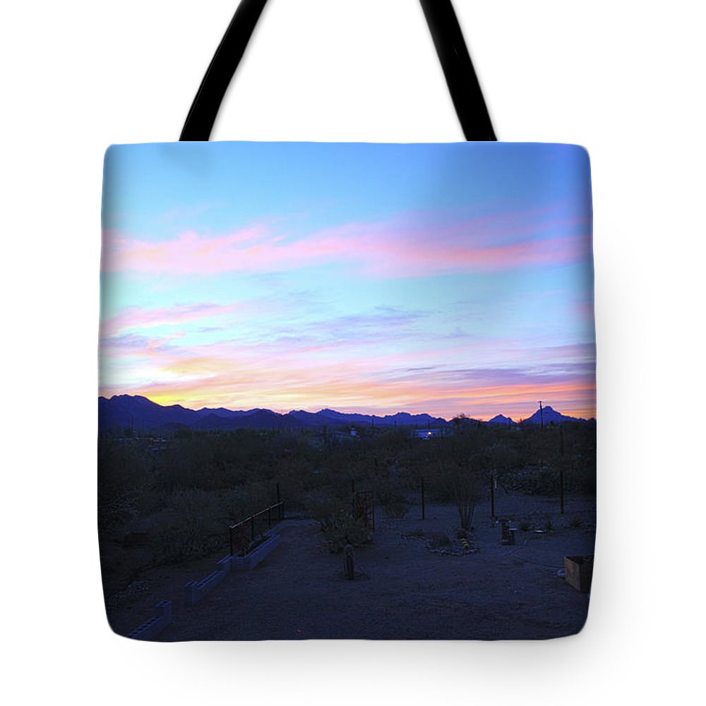 Sunrise Tote Bag featuring the photograph Sunrise Over Rincon Mountains by Warren Still