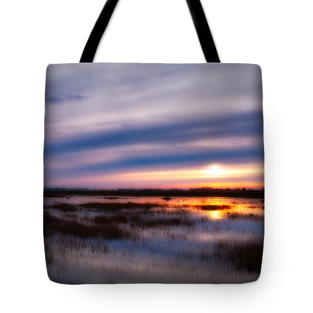 Sunrise Tote Bag featuring the photograph Sunrise Over The Salt Marsh by Rich Leighton