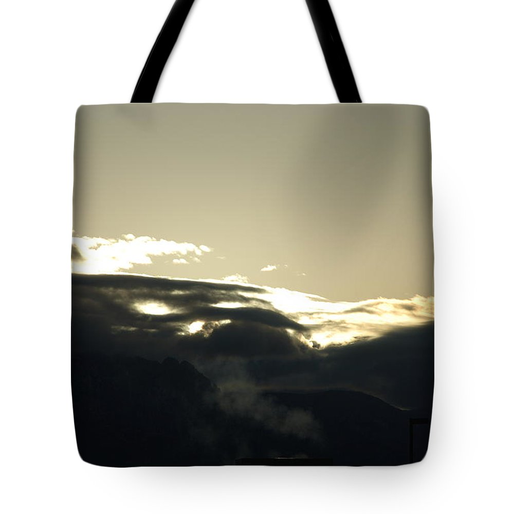 Sunrise Tote Bag featuring the photograph Sunrise Over The Sandias by Rob Hans