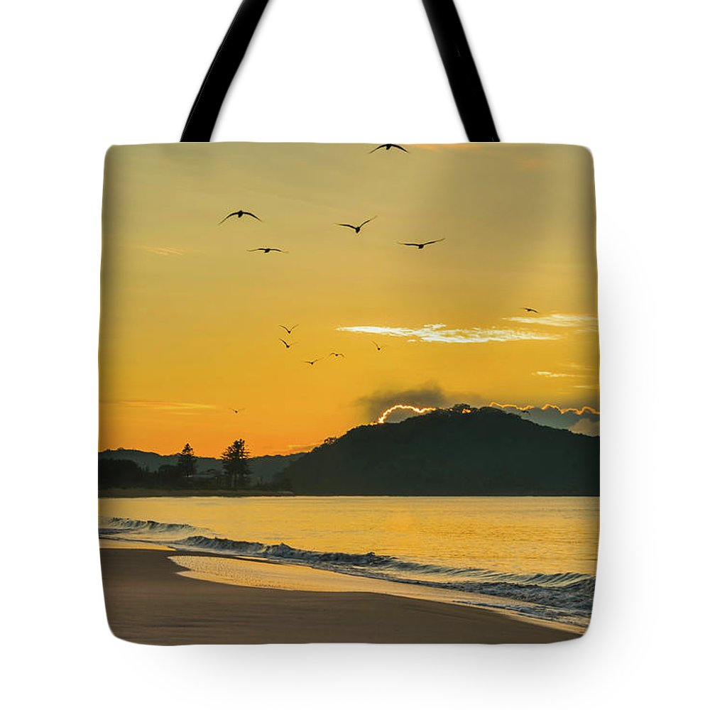 Umina Beach Tote Bag featuring the photograph Sunrise Seascape With Mountain And Birds by Merrillie Redden