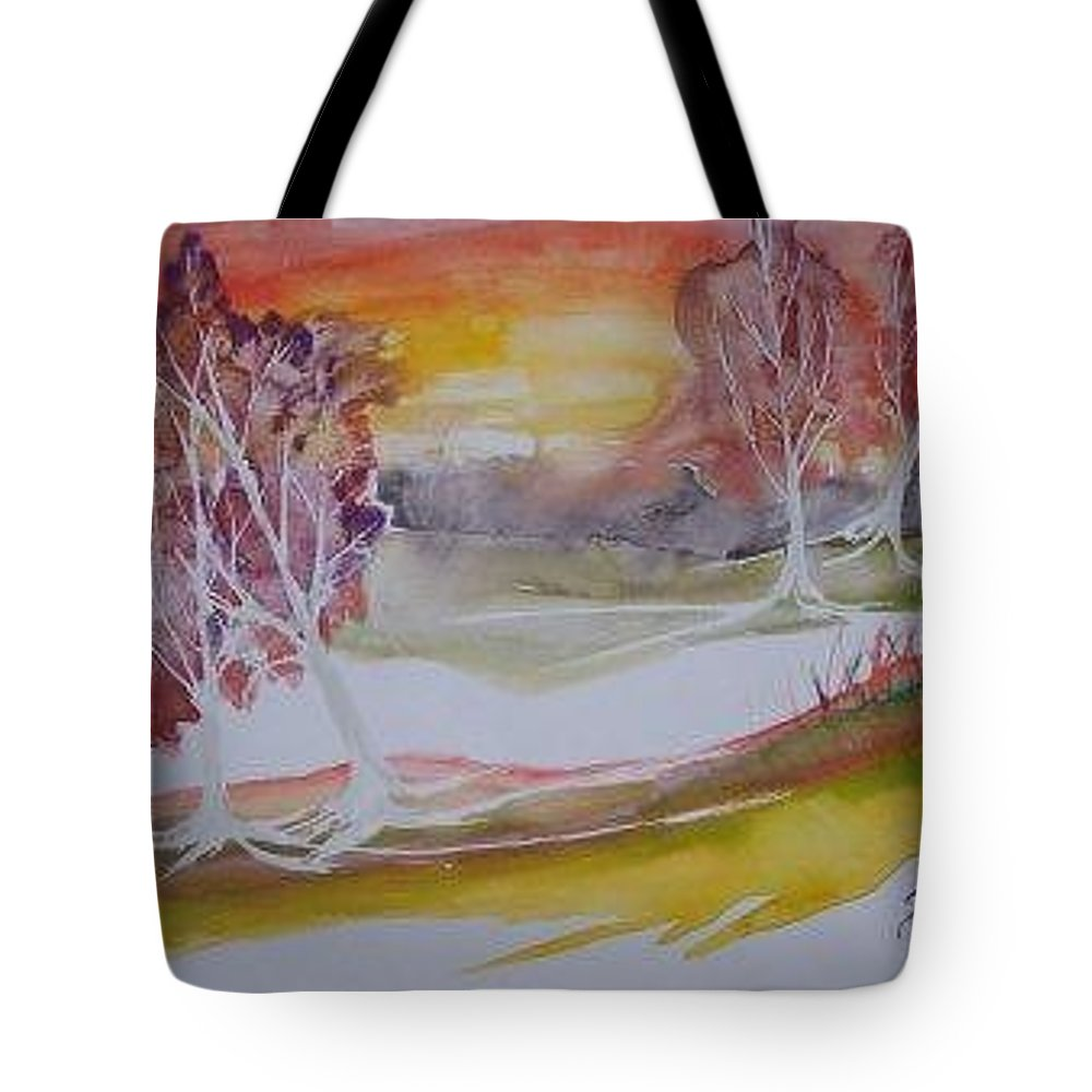 Impressionistic Tote Bag featuring the painting Sunrise Surreal Modern Landscape Painting Fine Art Poster Print by Derek Mccrea