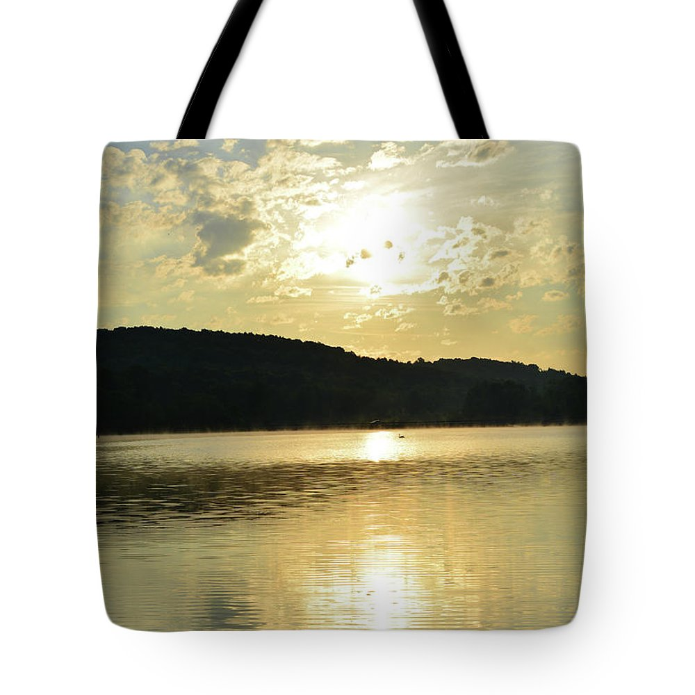 Sunrise Tote Bag featuring the photograph Sunrise Swan by Shelley Smith