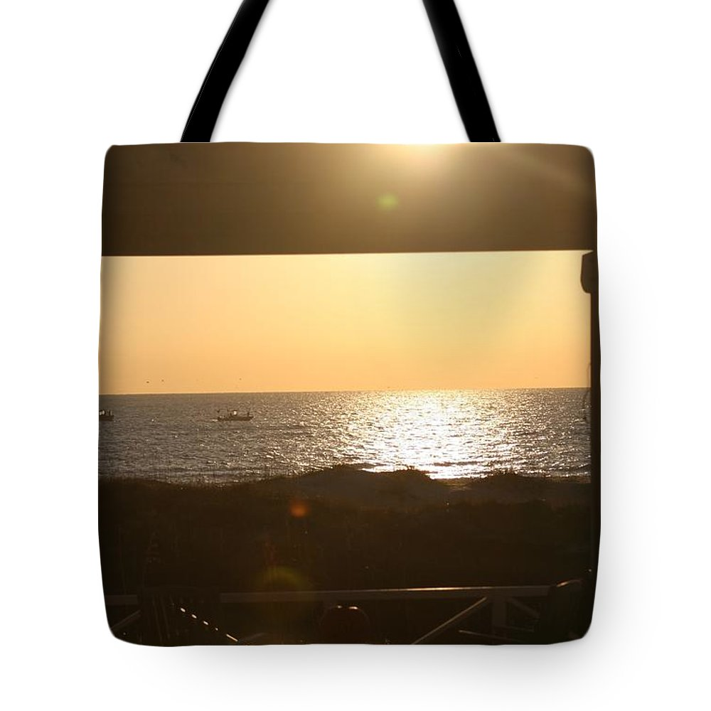 Sunrise Tote Bag featuring the photograph Sunrise Through The Pavilion by Nadine Rippelmeyer
