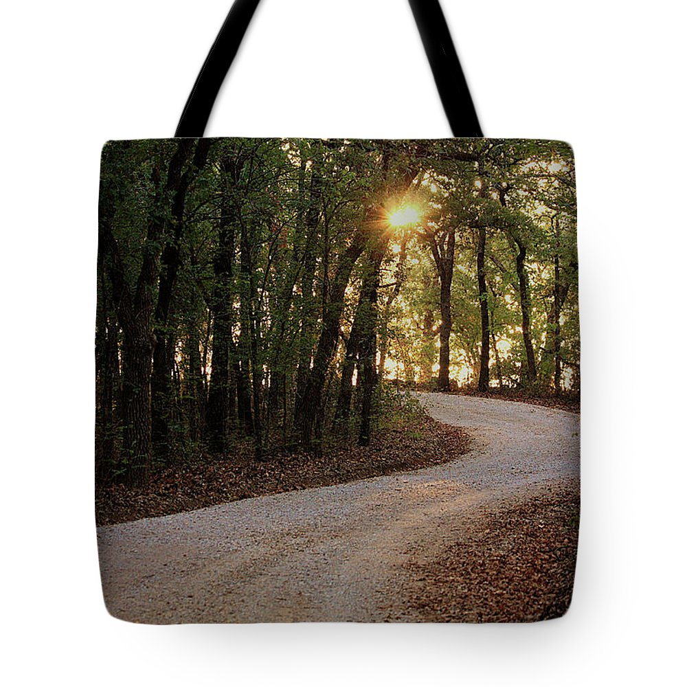 Nature Tote Bag featuring the photograph Sunrise Through The Woods by Sheila Brown