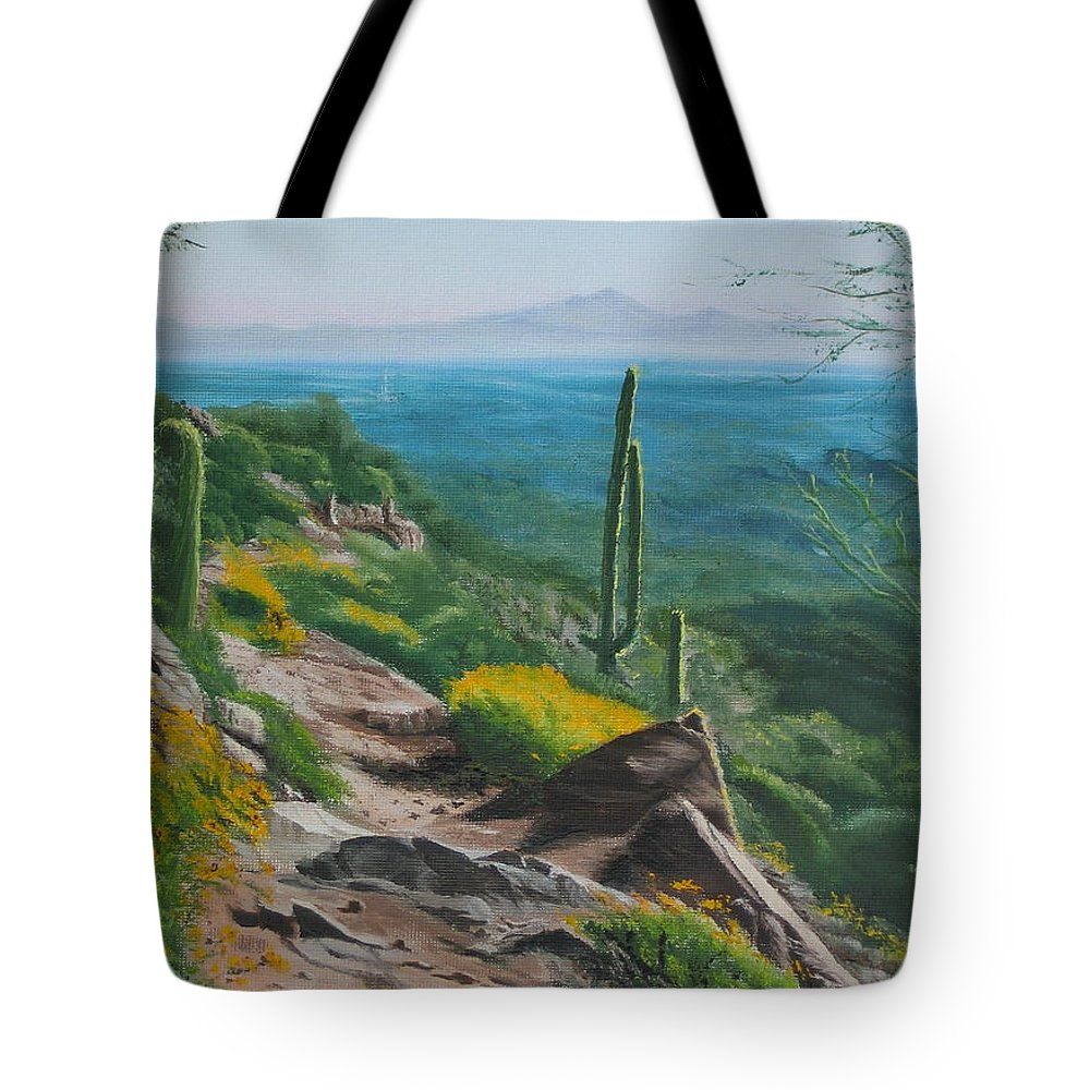 Landscape Tote Bag featuring the painting Sunrise Trail by Lea Novak