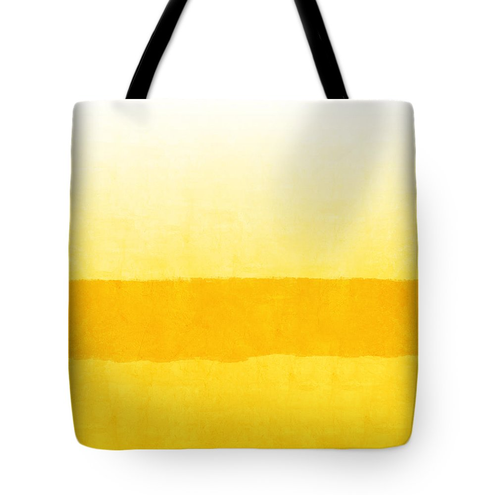 Abstract Tote Bag featuring the painting Sunrise- Yellow Abstract Art by Linda Woods by Linda Woods
