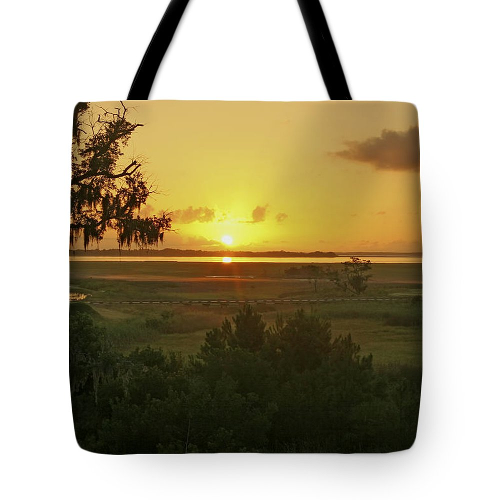 Sunrise Tote Bag featuring the photograph Sun's Up by Phill Doherty