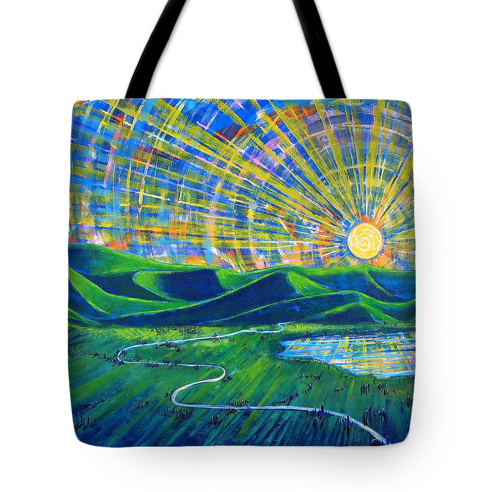 Sun Tote Bag featuring the painting Sunscape by Rollin Kocsis