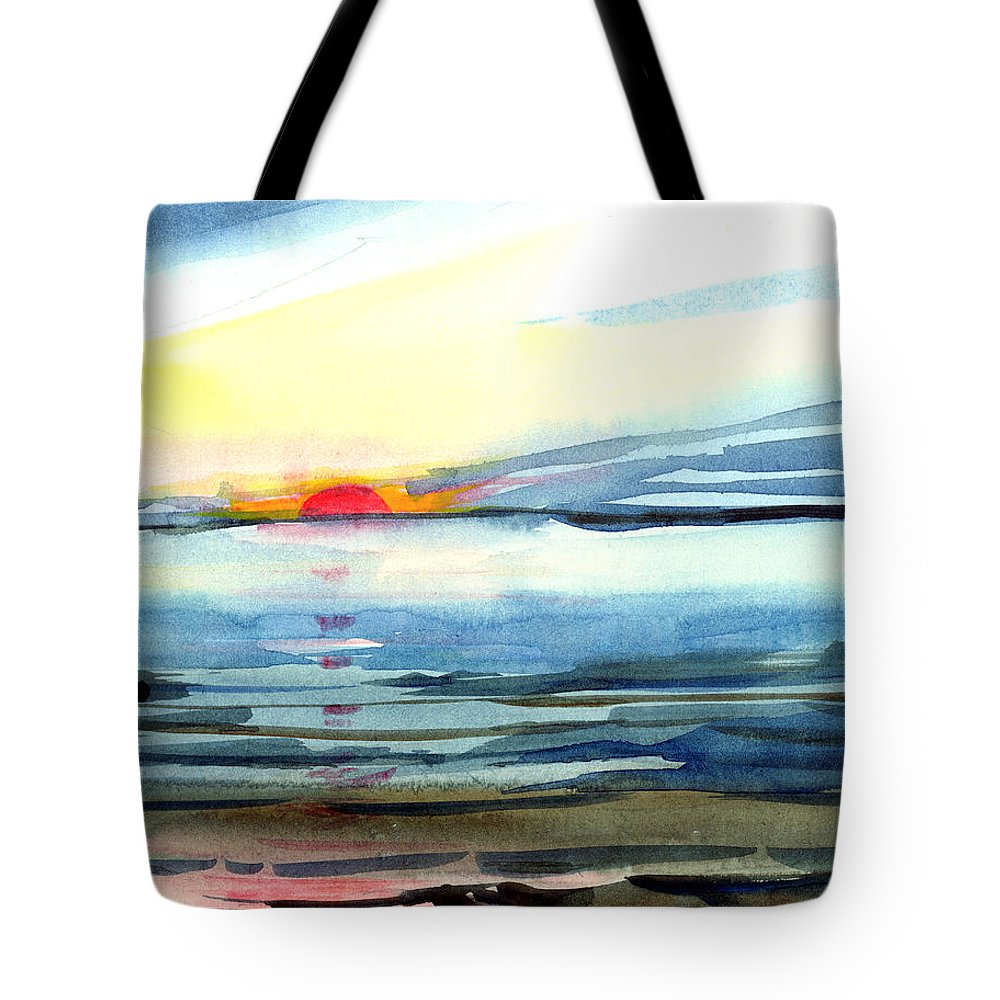 Landscape Seascape Ocean Water Watercolor Sunset Tote Bag featuring the painting Sunset by Anil Nene