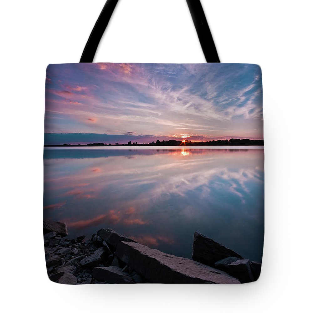 Sunrise Tote Bag featuring the photograph Sunset at Anglezarke Reservoir #1, Rivington, Lancashire, North West England by Anthony Lawlor