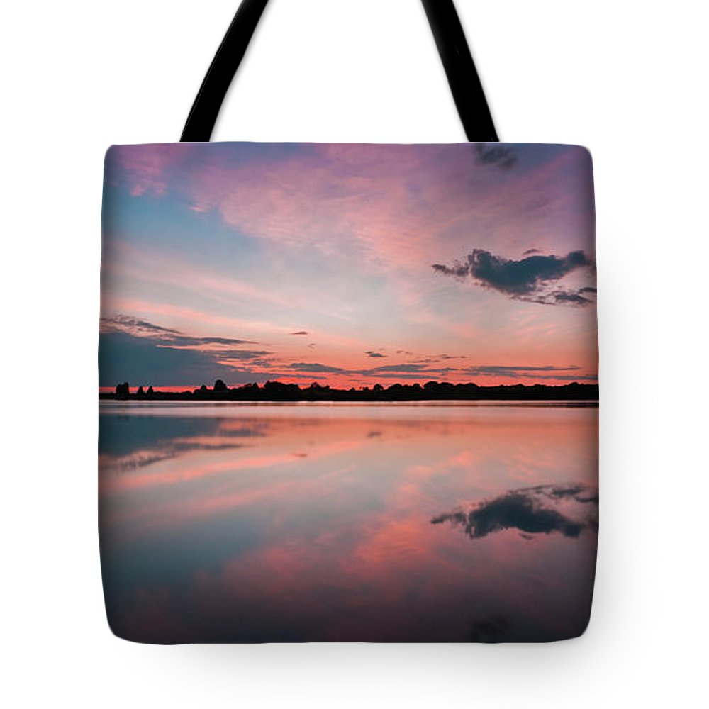 Sunrise Tote Bag featuring the photograph Sunset at Anglezarke Reservoir #4, Rivington, Lancashire, North West England by Anthony Lawlor