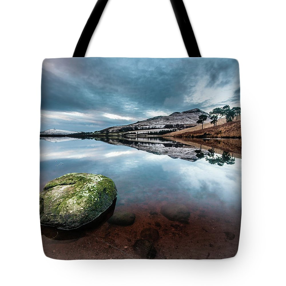 Sunset Tote Bag featuring the photograph Sunset at Dovestone Reservoir, Greater Manchester, North West England by Anthony Lawlor