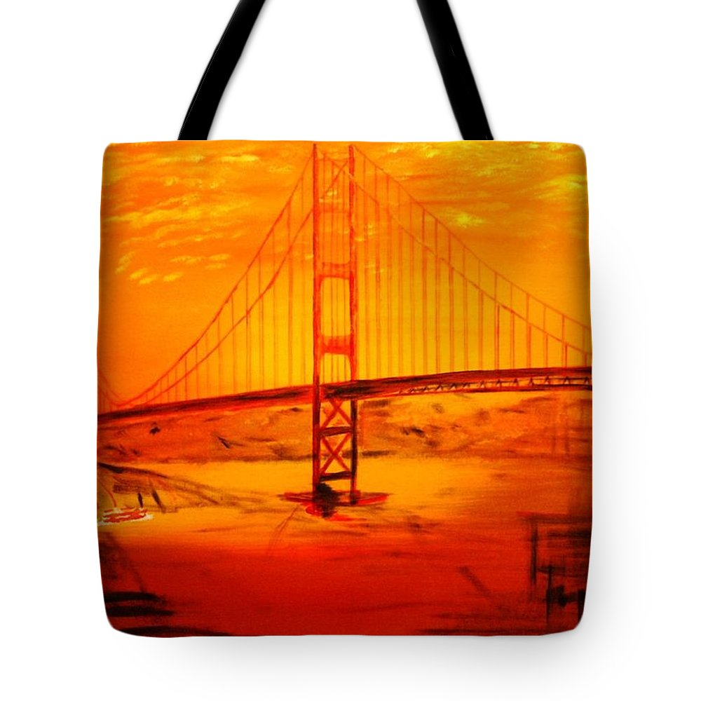 Sunset At Golden Gate Tote Bag featuring the painting Sunset At Golden Gate by Helmut Rottler