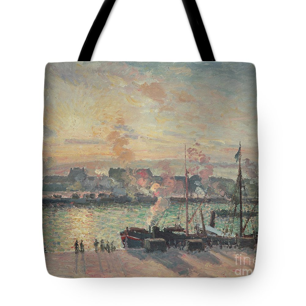 Sunset Tote Bag featuring the painting Sunset At Rouen by Camille Pissarro