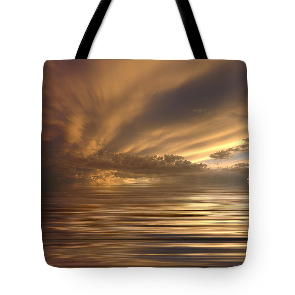 Sunset Tote Bag featuring the photograph Sunset At Sea by Jerry McElroy