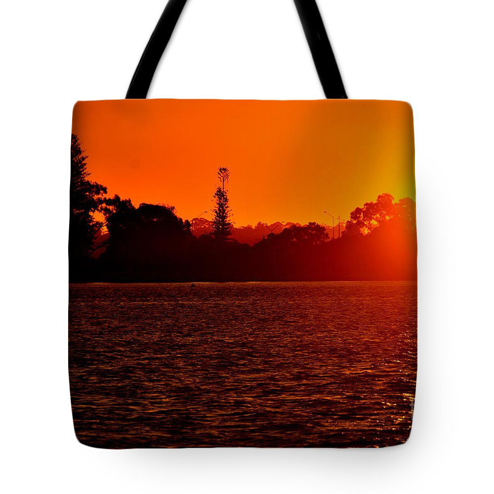 Sunset Tote Bag featuring the photograph Sunset At Swan River II by Dennis Wat