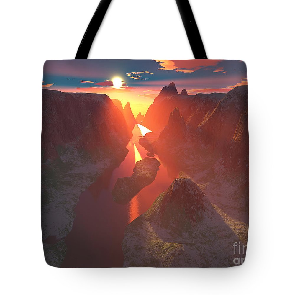 Canyon Tote Bag featuring the digital art Sunset At The Canyon by Gaspar Avila
