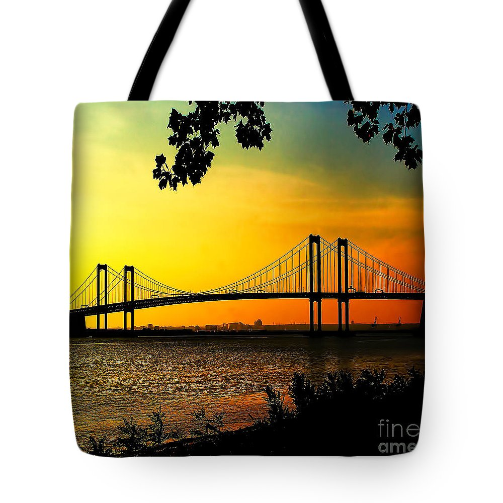 Sunset Tote Bag featuring the photograph Sunset At The Delaware Memorial Bridge by Nick Zelinsky