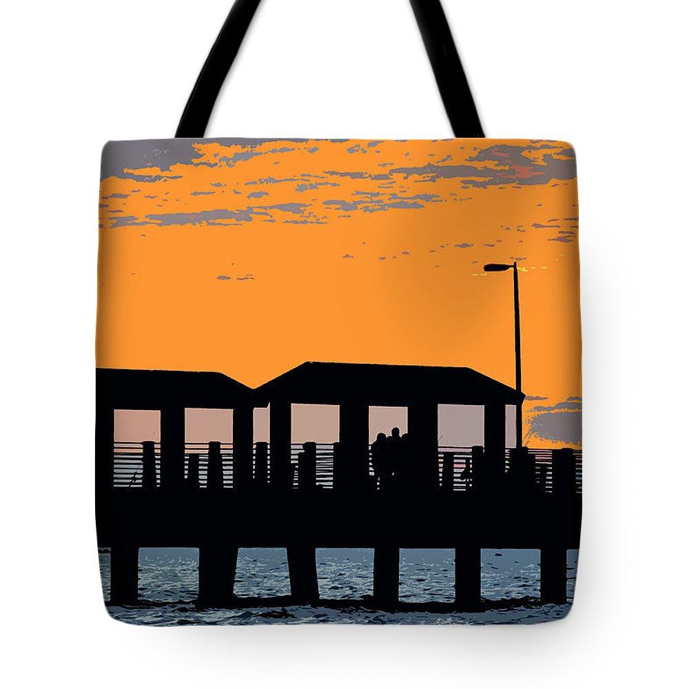 Art Tote Bag featuring the painting Sunset At The Fishing Pier by David Lee Thompson
