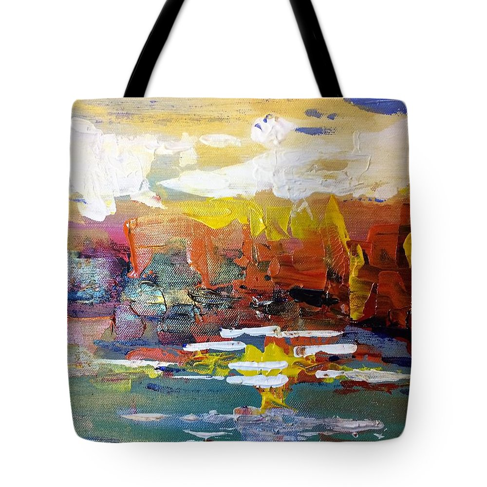 Abstract Tote Bag featuring the painting Sunset At The Lake by Terri Huffman