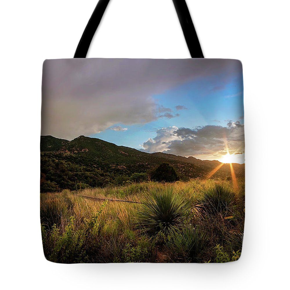 Sunset Tote Bag featuring the photograph Sunset At The Old Divide by Angelina Cornidez