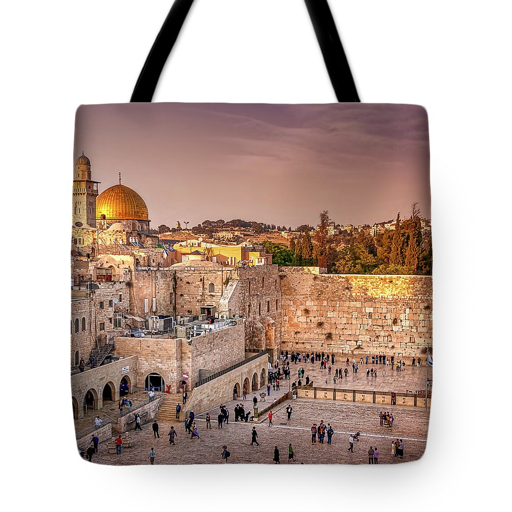 Endre Tote Bag featuring the photograph Sunset At The Wall by Endre Balogh