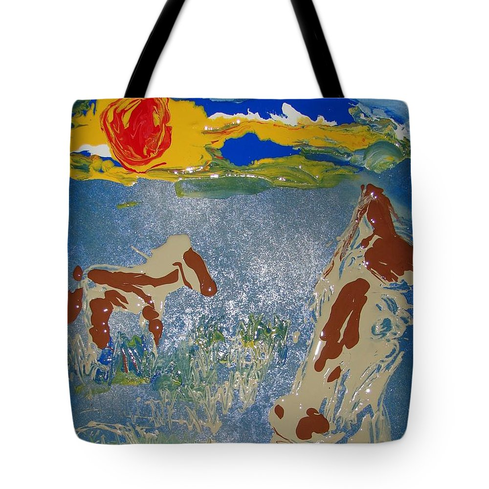 Impressionism Tote Bag featuring the painting Sunset At The Watering Hole by J R Seymour